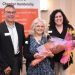 Outgoing Board Members Sharon Gilley and Laurie Hunt with Co-President Chris Barrett